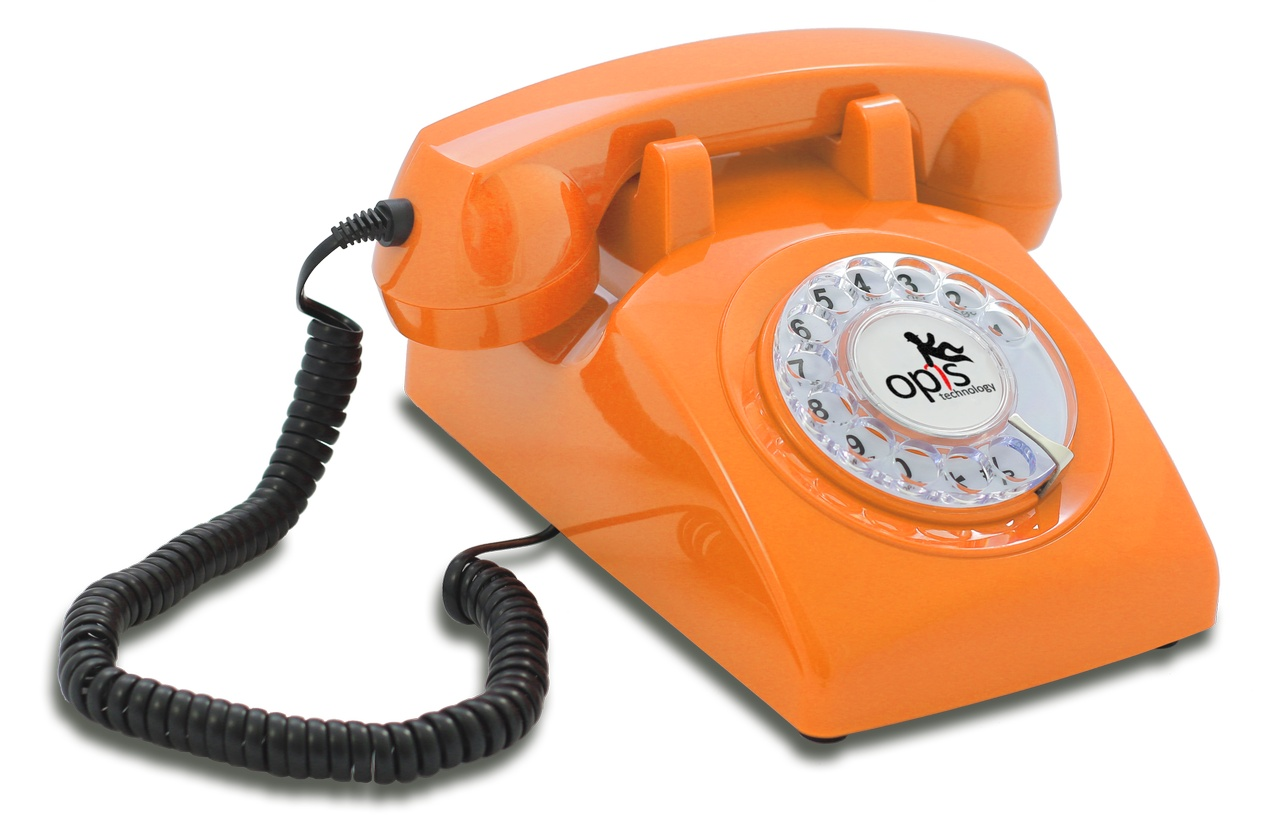 opis 60s cable the landline retro vintage rotary dial telephone phone in orange ebay. Black Bedroom Furniture Sets. Home Design Ideas