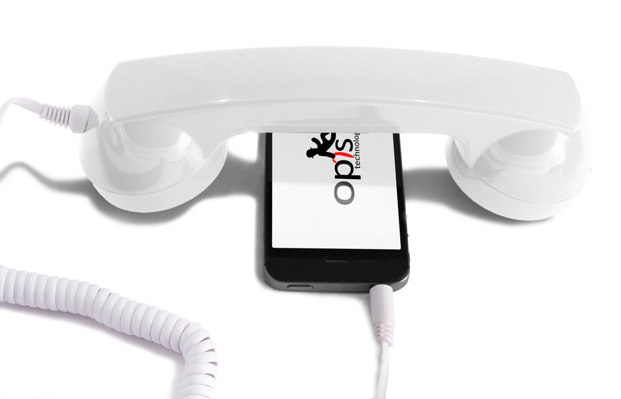 Opis 60s micro: Retro/Vintage Hörer/Handset/Headset Handyhörer für Tablet weiß